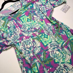Vibrant Floral (Roses) LuLaRoe Irma Tunic L